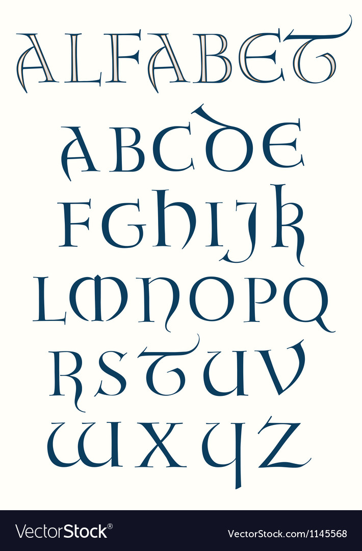 Lombardic alphabet vector | Price: 1 Credit (USD $1)