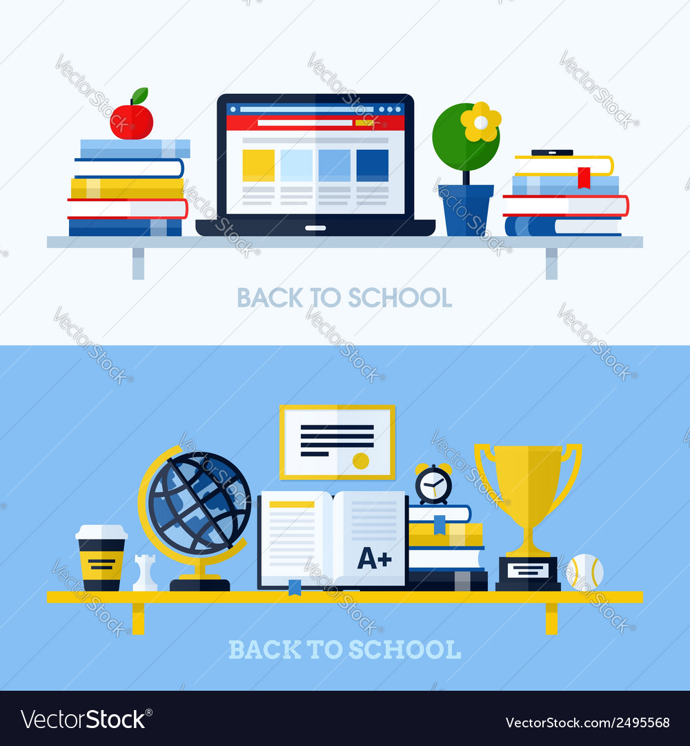 School concepts with bookshelf and school supplies vector | Price: 1 Credit (USD $1)