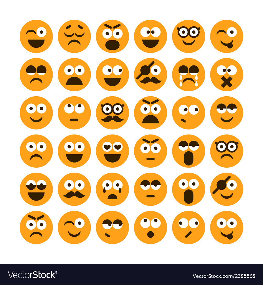 Set of different smiling icons vector | Price: 1 Credit (USD $1)