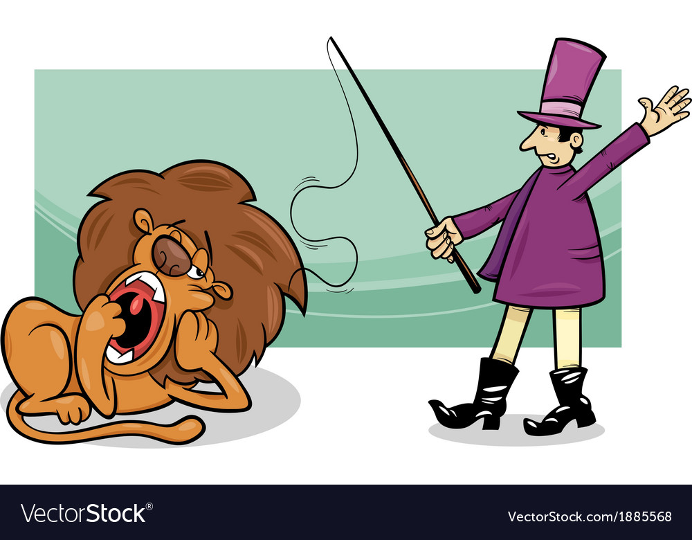 Tamer and bored lion cartoon vector | Price: 1 Credit (USD $1)