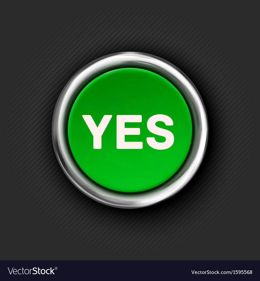 Yes button 3d green glossy metallic icon vector | Price: 1 Credit (USD $1)