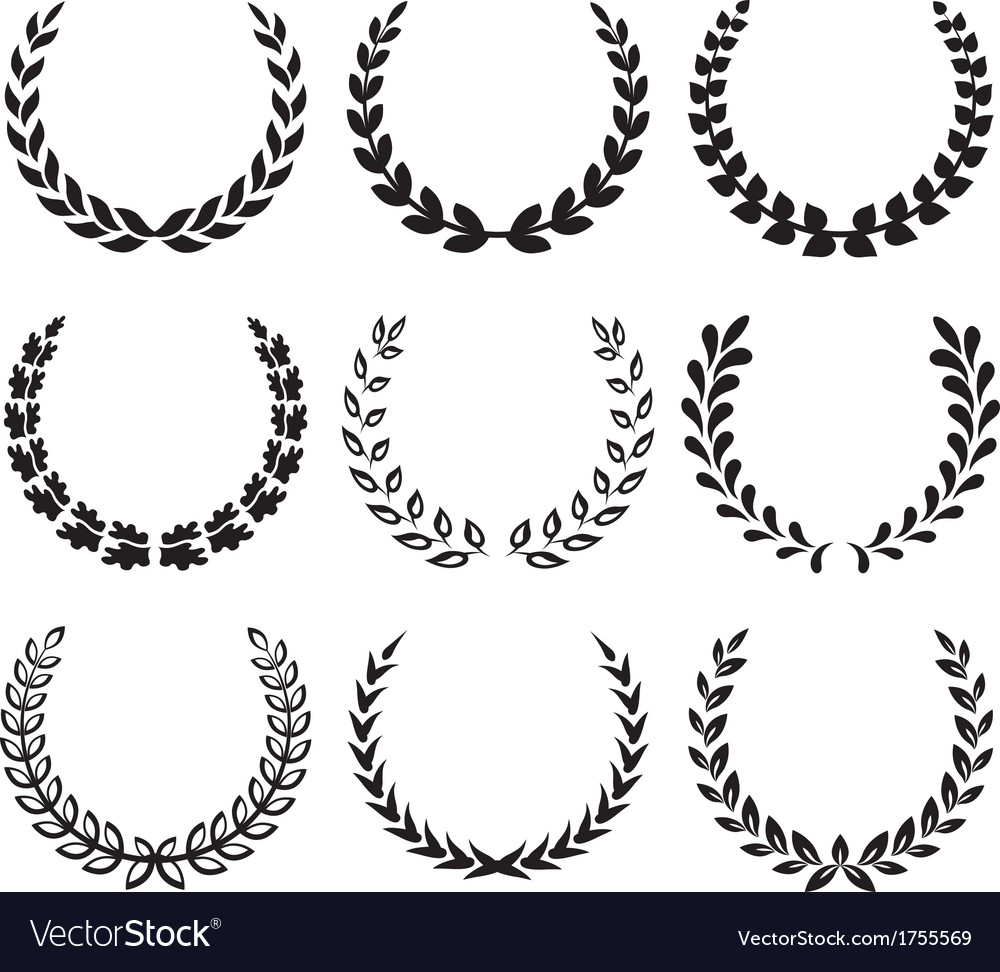 Black laurel wreaths 1 vector | Price: 1 Credit (USD $1)