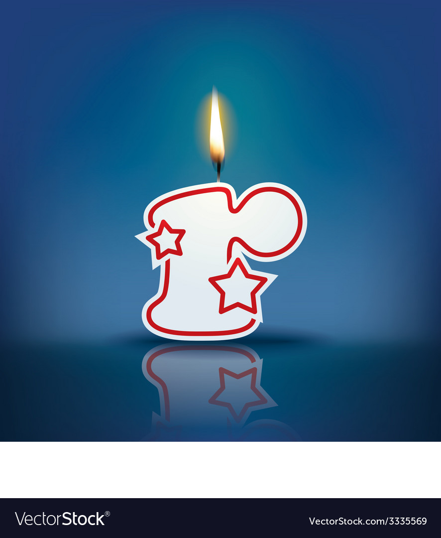 Candle letter r with flame vector | Price: 1 Credit (USD $1)