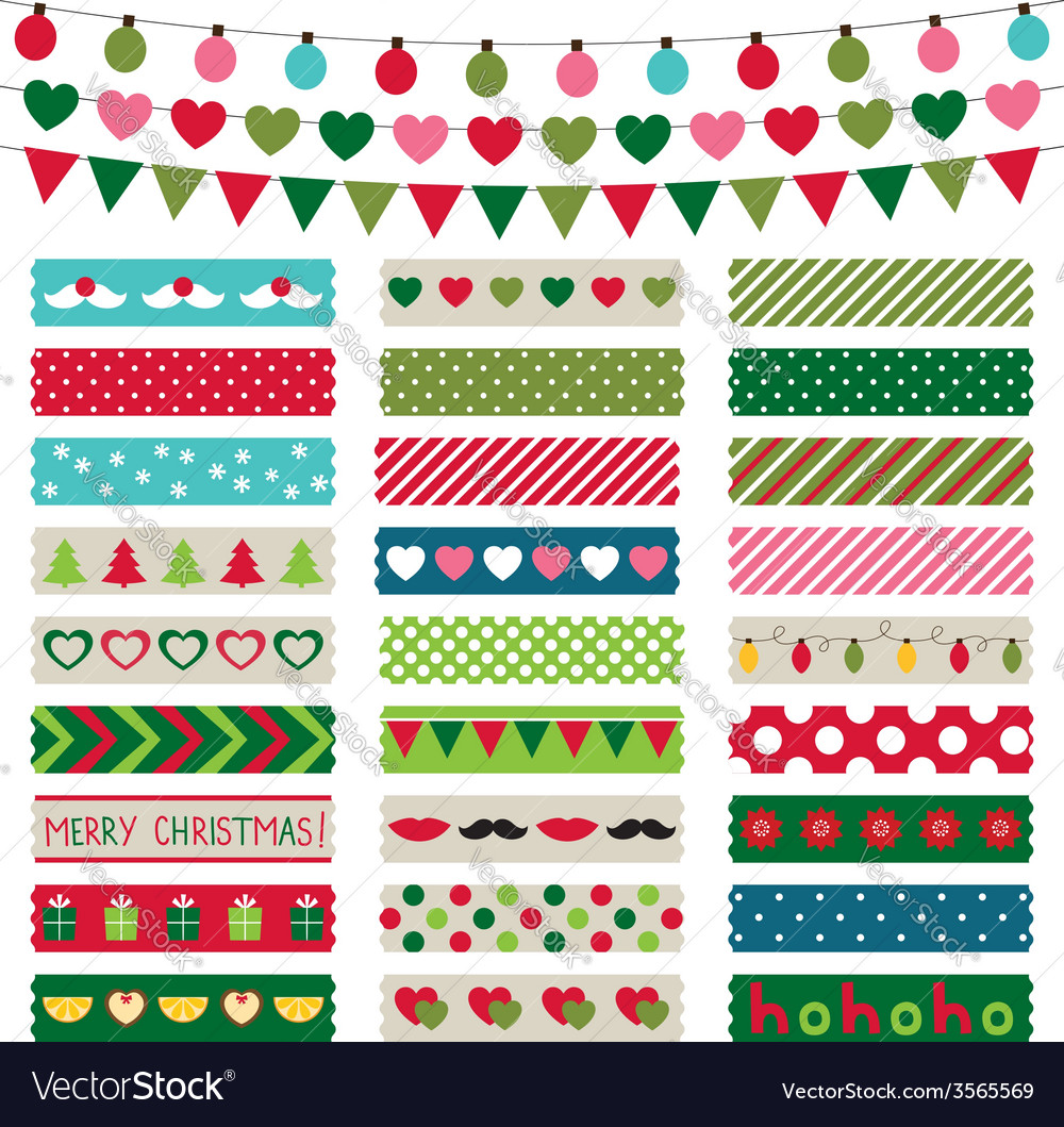 Christmas decoration and washi tapes set vector | Price: 1 Credit (USD $1)