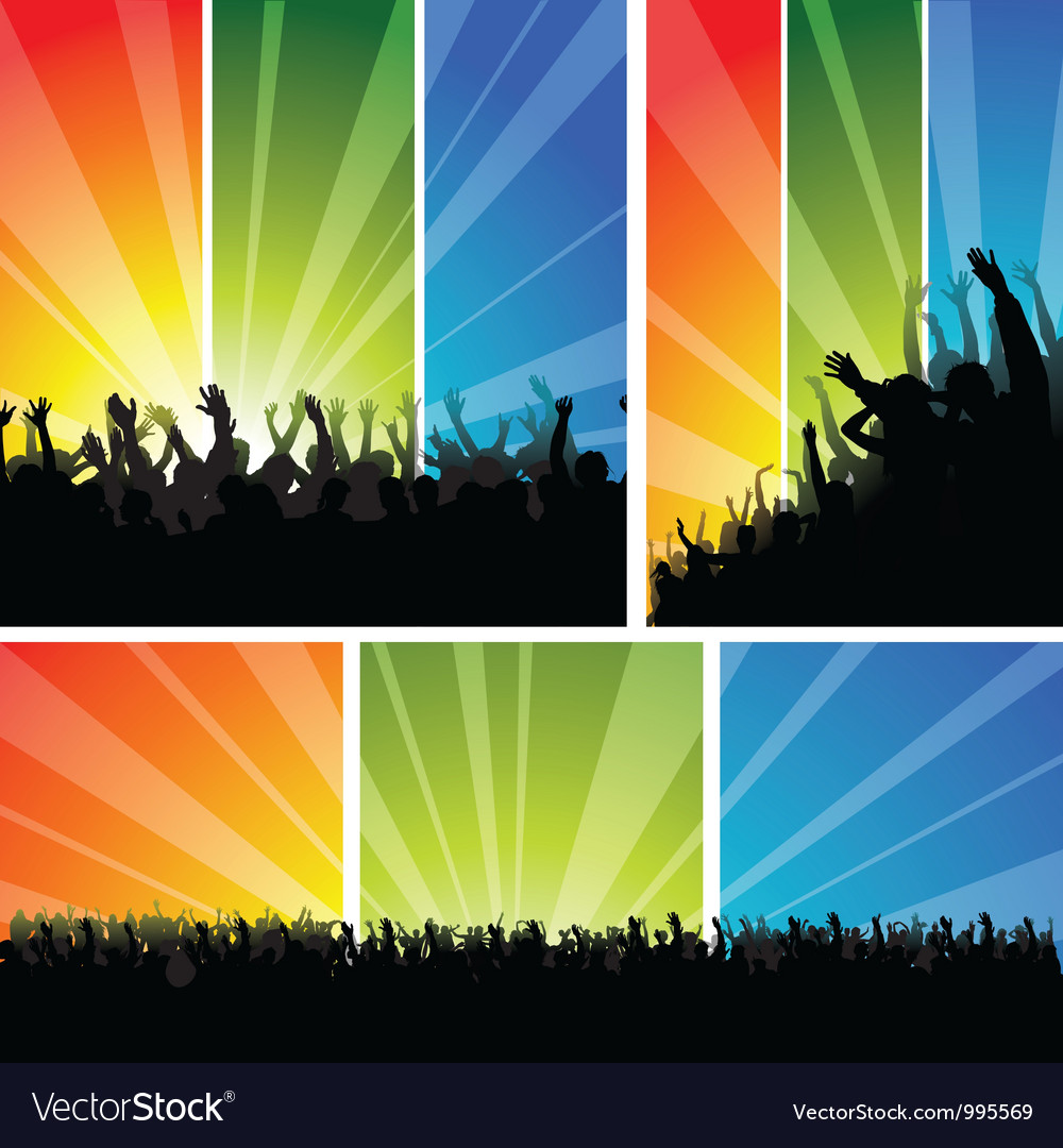 Crowd at the concert set vector | Price: 1 Credit (USD $1)