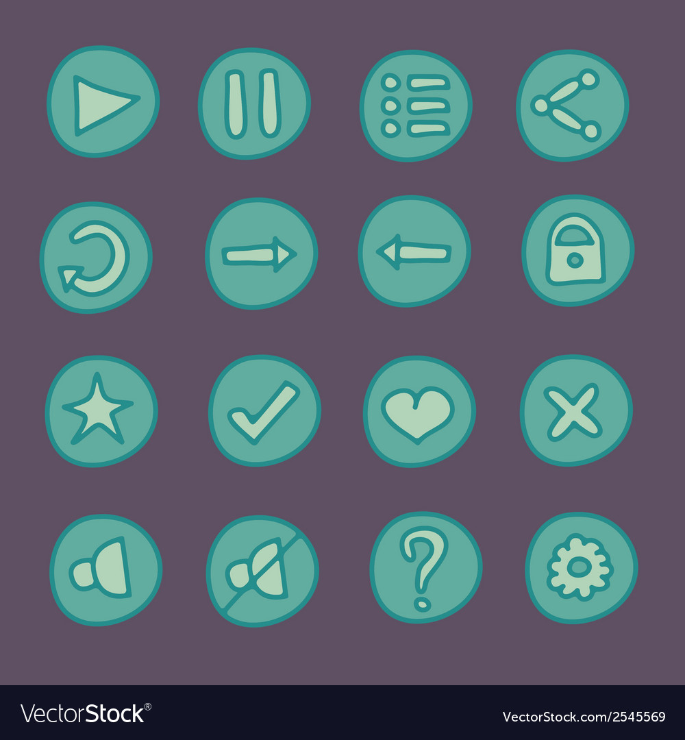 Flat game ui buttons set in doodle style vector | Price: 1 Credit (USD $1)