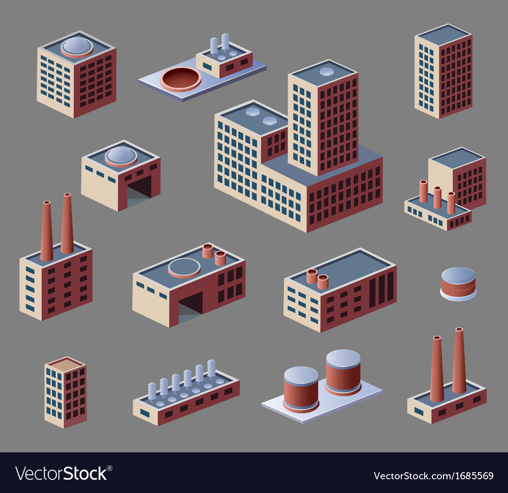 Industrial buildings vector | Price: 1 Credit (USD $1)