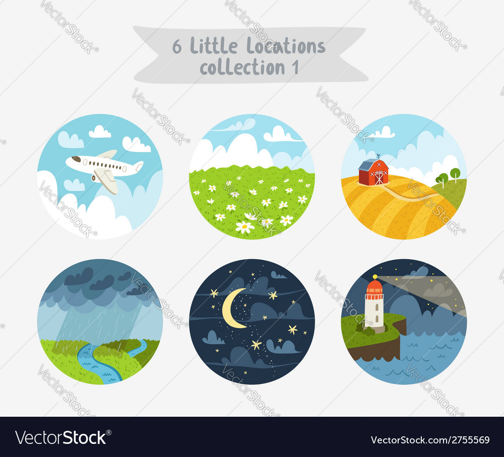 Little locations collection 1 vector | Price: 3 Credit (USD $3)