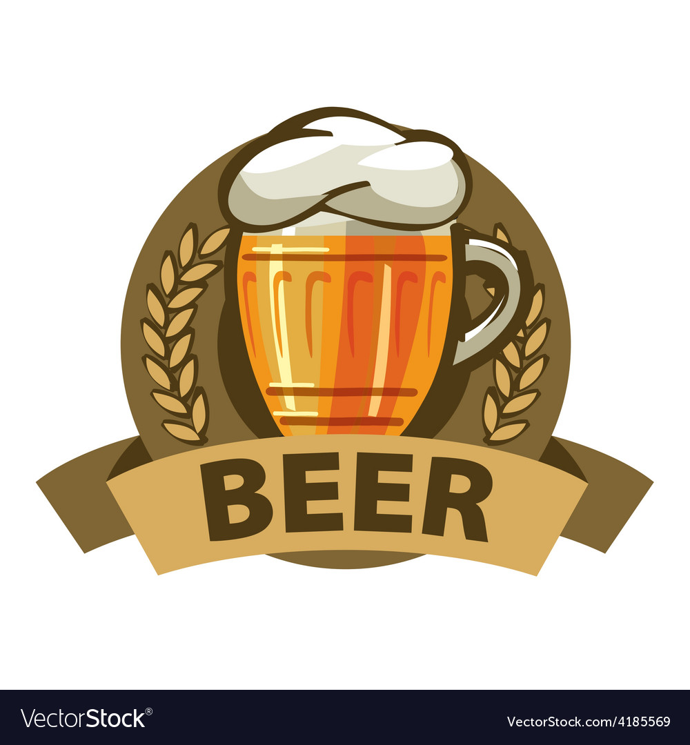Logo beer in a mug and a ribbon vector | Price: 1 Credit (USD $1)