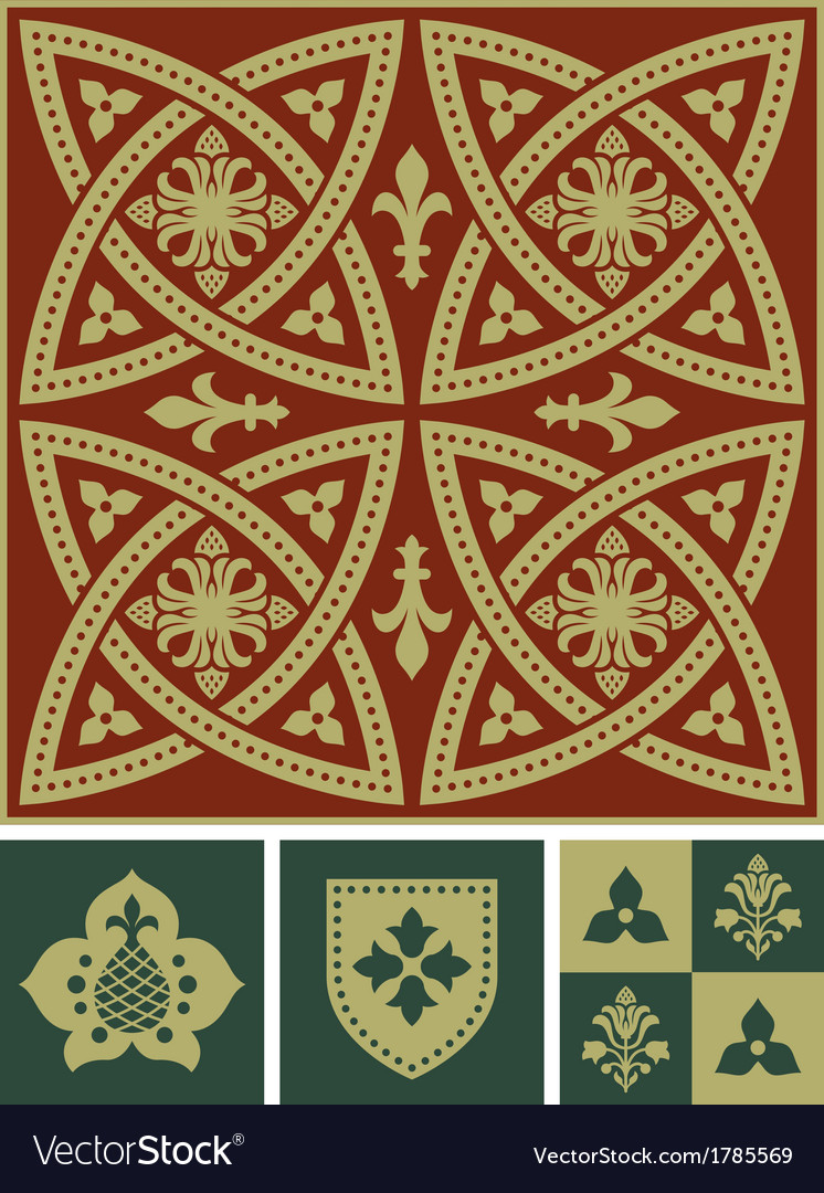 Middle ages ornament set vector | Price: 1 Credit (USD $1)