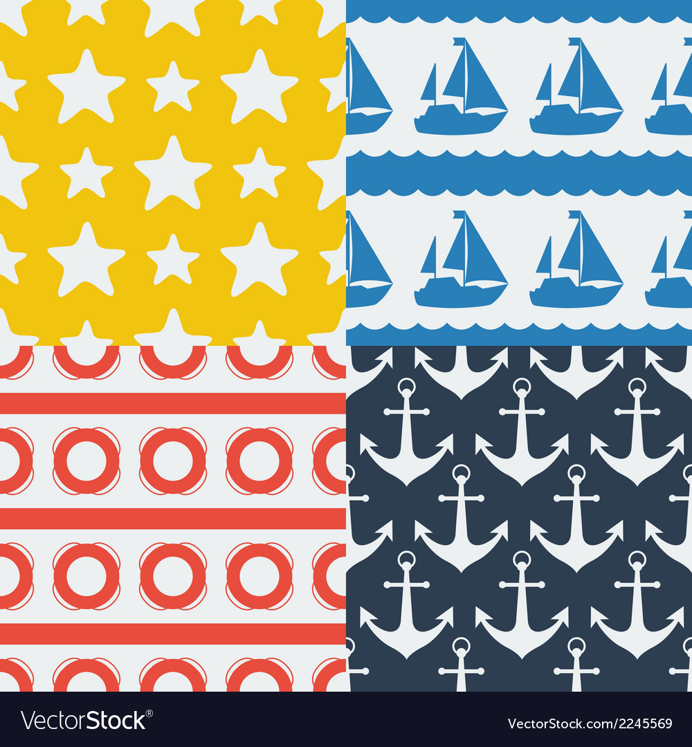 Nautical seamless patterns set in flat design vector | Price: 1 Credit (USD $1)