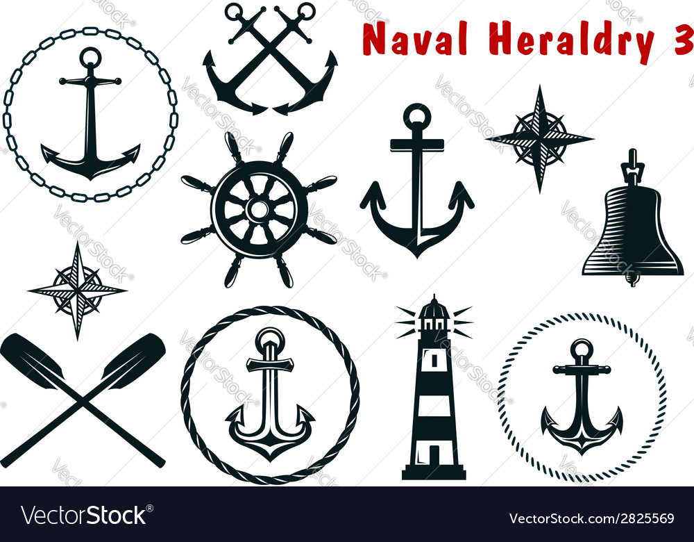 Naval heraldry icons set vector | Price: 1 Credit (USD $1)