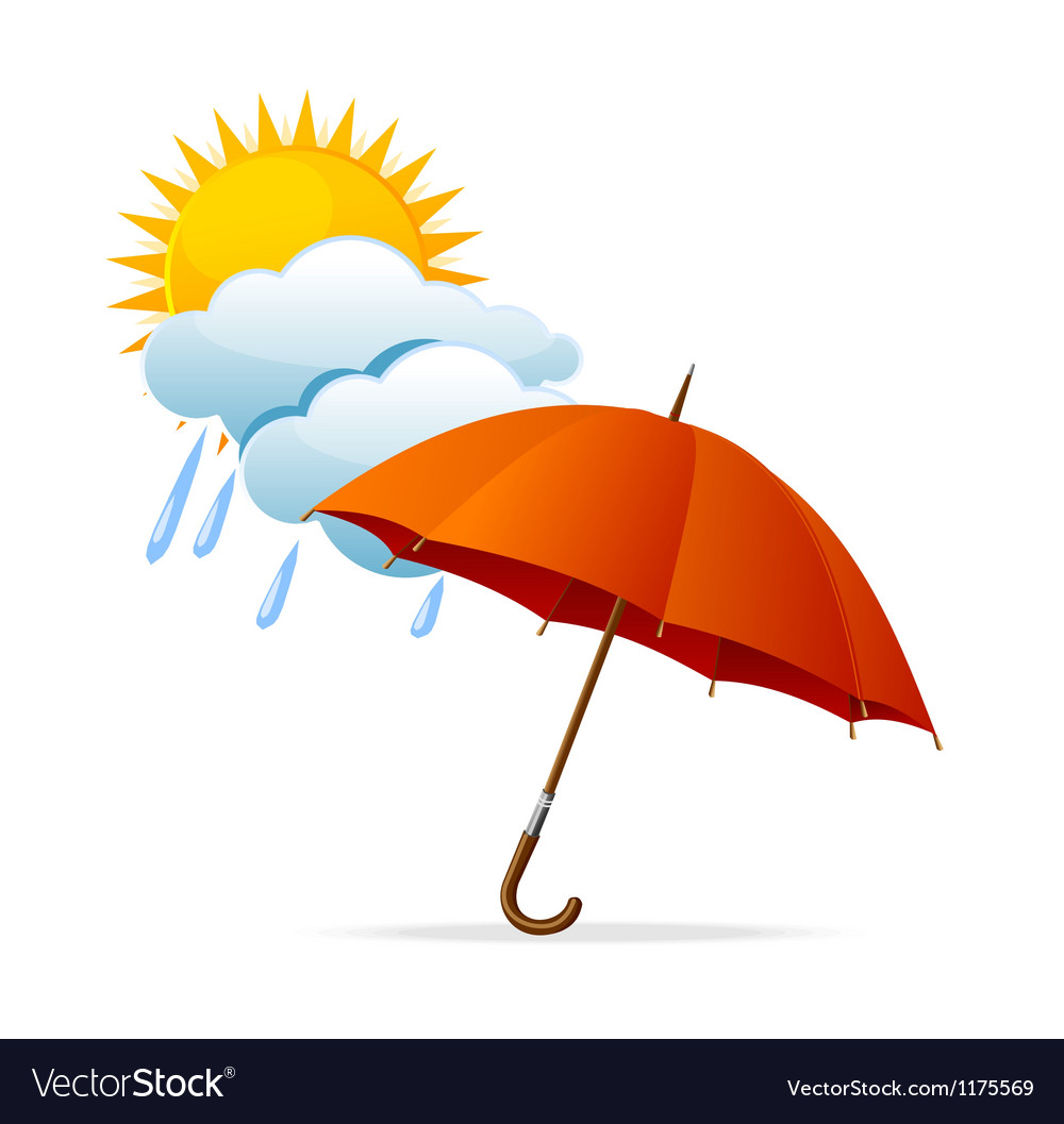 Rainy weather icon with clouds and umbrella and vector | Price: 1 Credit (USD $1)