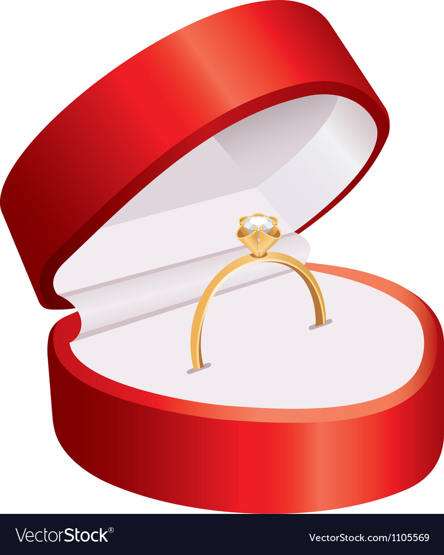 Ring in a red box vector | Price: 1 Credit (USD $1)