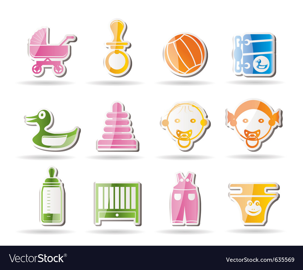 Simple child and baby online shop icons vector | Price: 1 Credit (USD $1)