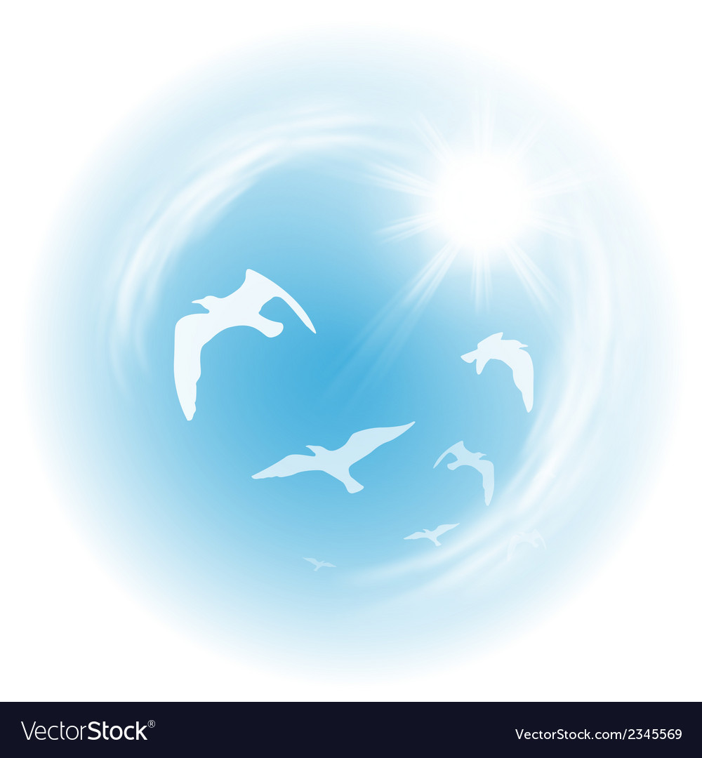 Sky with birds vector | Price: 1 Credit (USD $1)