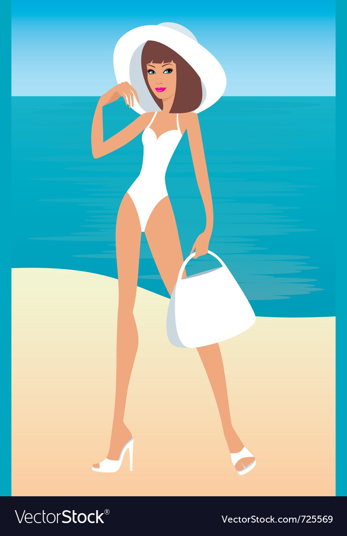 Young woman on a beach vector | Price: 1 Credit (USD $1)