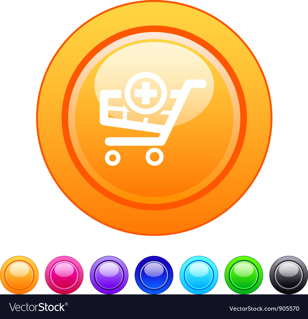 Add to cart circle button vector