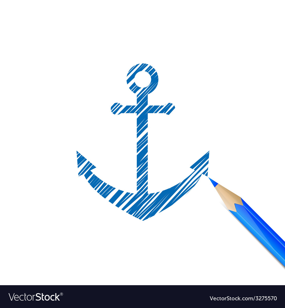 Anchor drawn with blue pencil vector | Price: 1 Credit (USD $1)