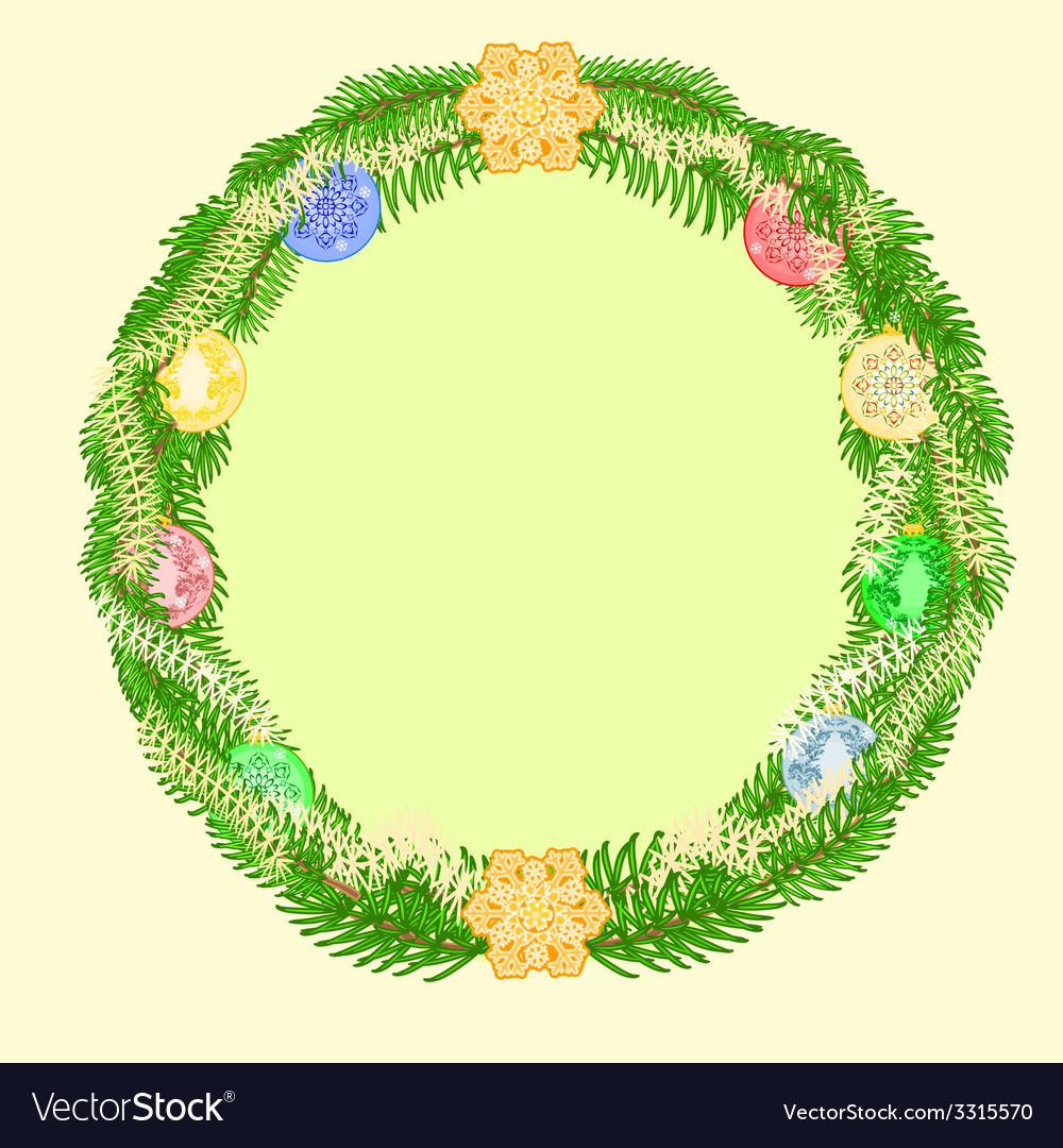 Christmas decoration wreath with vintage baubles vector | Price: 1 Credit (USD $1)