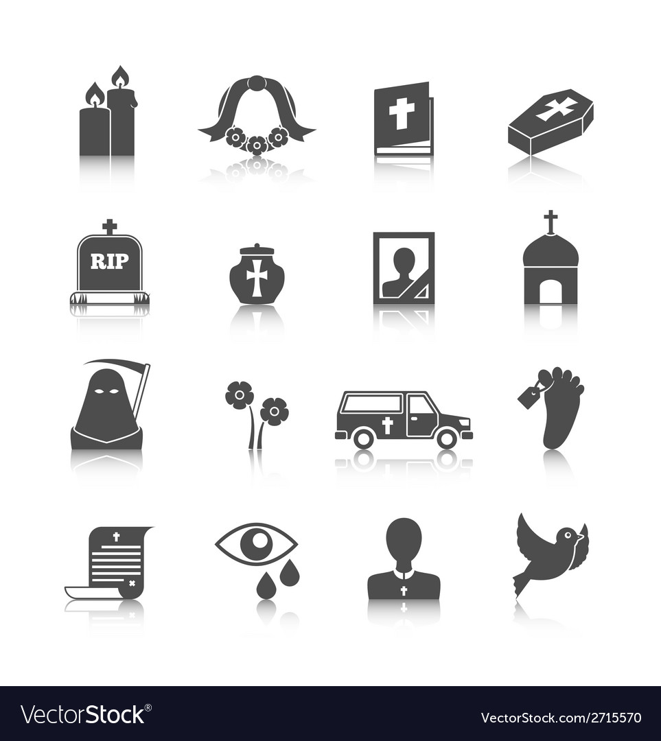 Funeral icons set vector | Price: 3 Credit (USD $3)