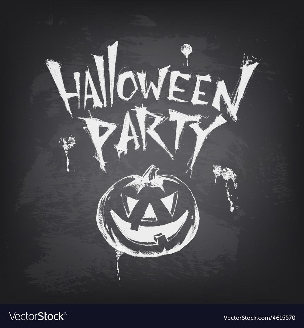 Halloween text design with pumpkin on chalkboard vector   Price: 1 Credit (USD $1)