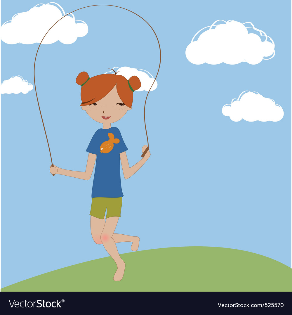 Little girl jumping with the skipping rope vector | Price: 1 Credit (USD $1)
