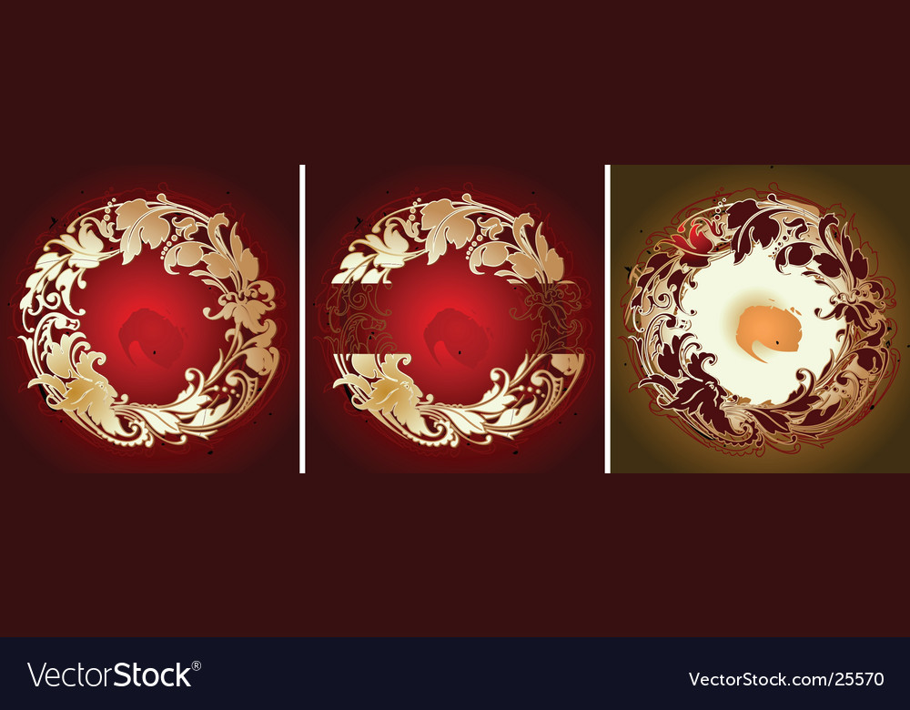 Red gold various circle ornament vector | Price: 1 Credit (USD $1)