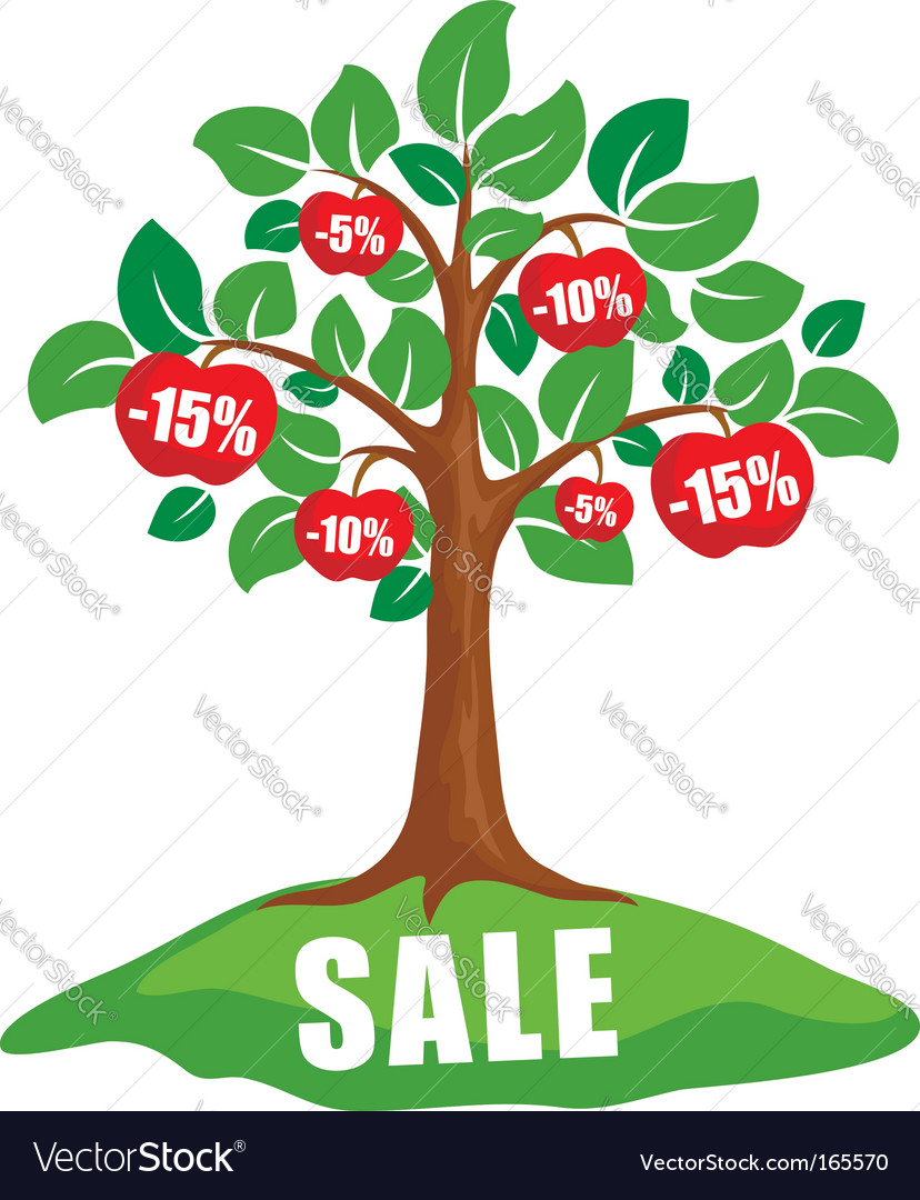 Sale concept tree with discounts vector | Price: 1 Credit (USD $1)