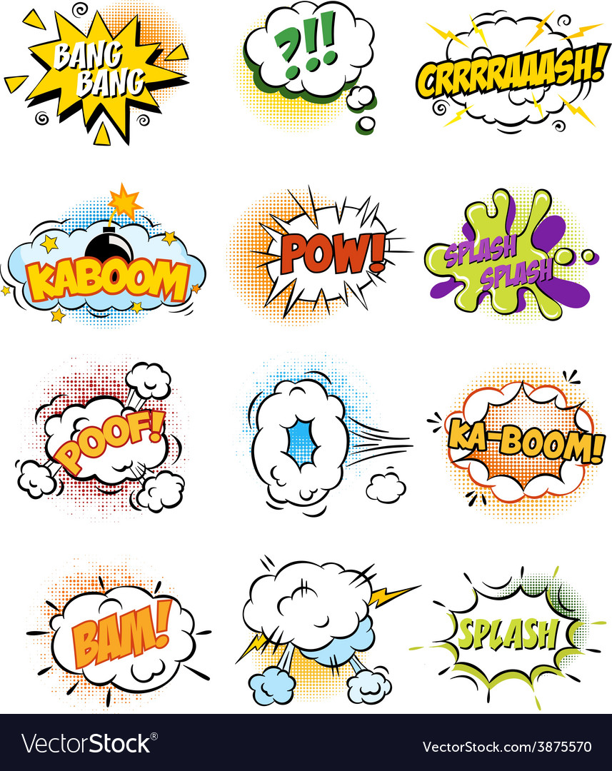 Set of retro comic book design elements vector | Price: 1 Credit (USD $1)