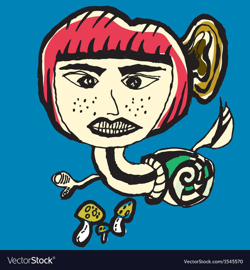 Snail devil abstarct cartoon vector | Price: 1 Credit (USD $1)