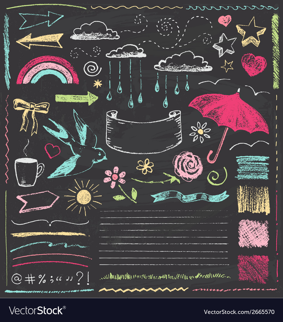 Vintage chalkboard design elements hand drawn set vector | Price: 1 Credit (USD $1)