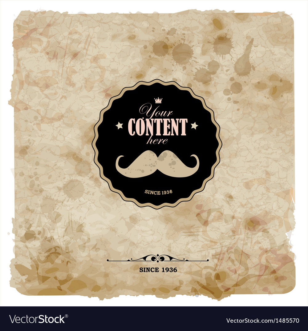 Vintage postcard mustache label on grunge paper vector | Price: 1 Credit (USD $1)