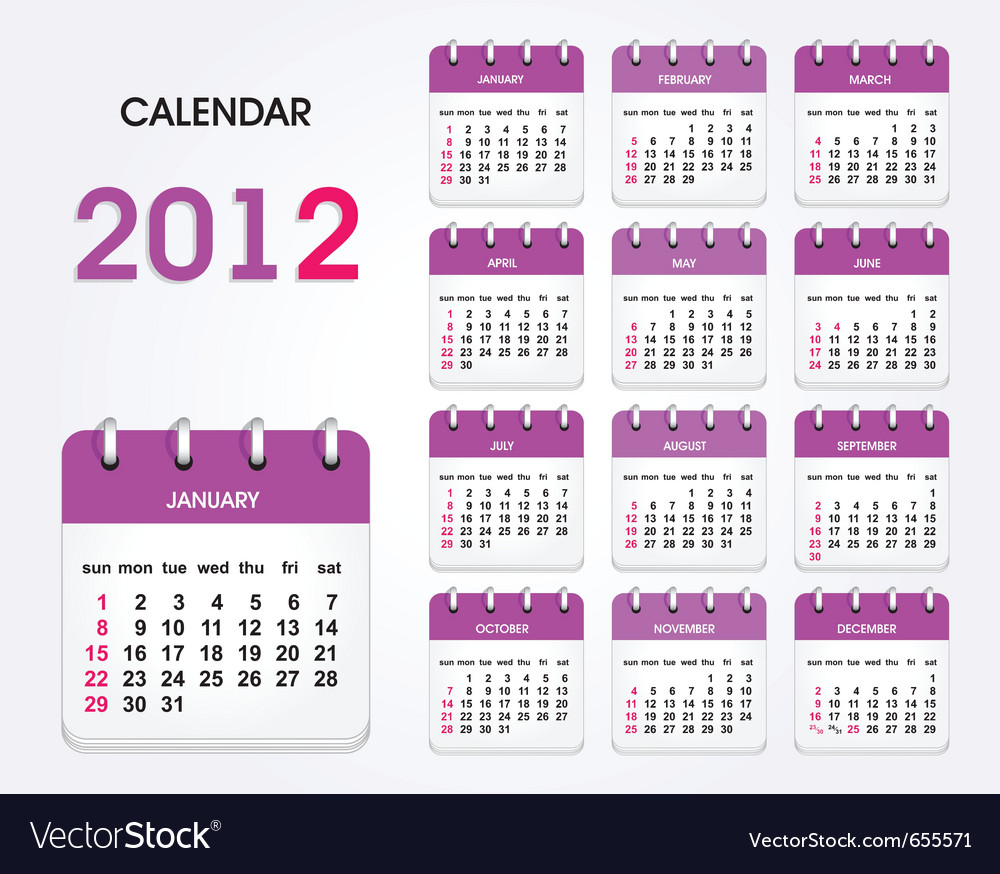 2012 calendar template vector | Price: 1 Credit (USD $1)