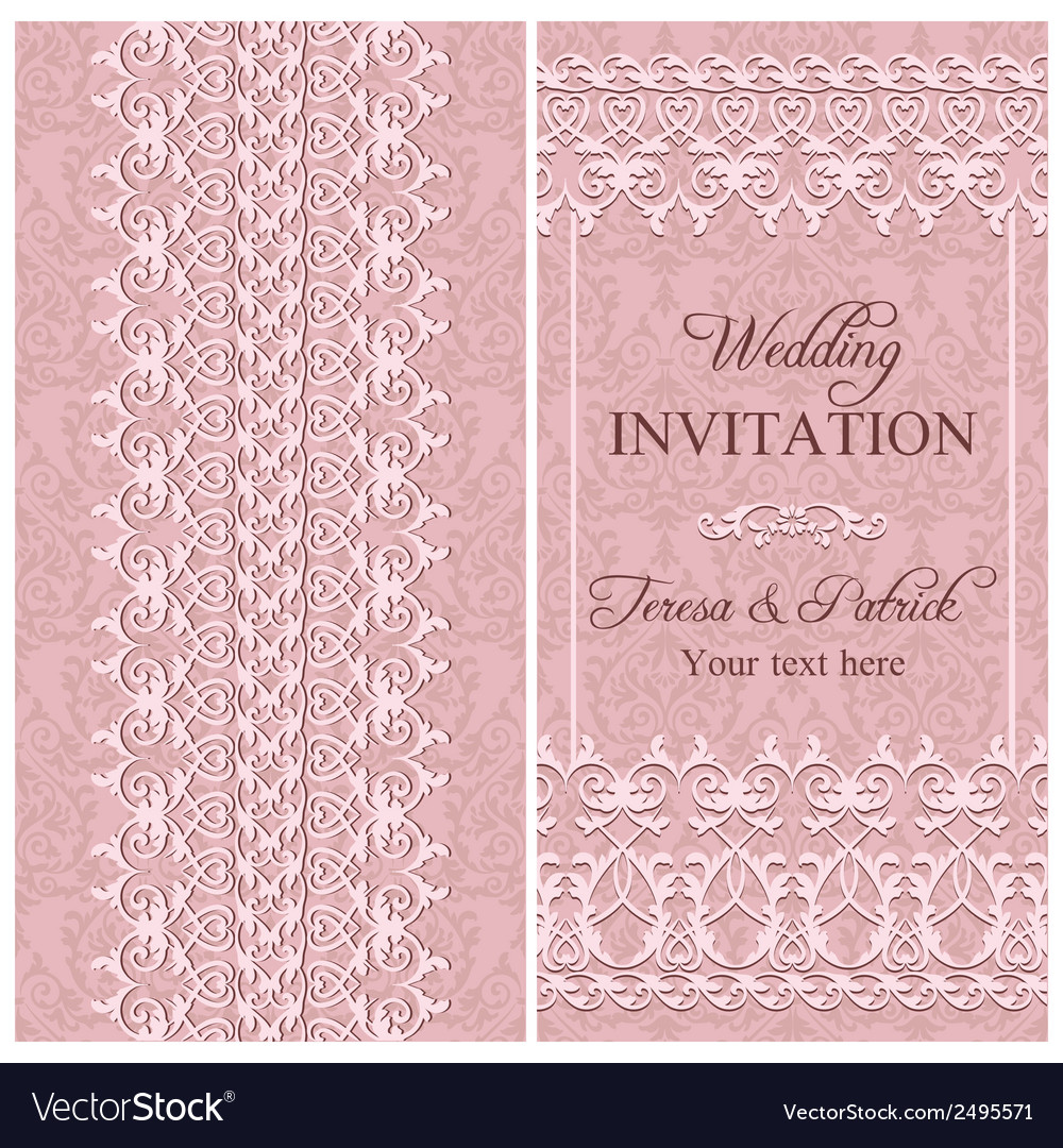 Baroque wedding invitation pink vector | Price: 1 Credit (USD $1)