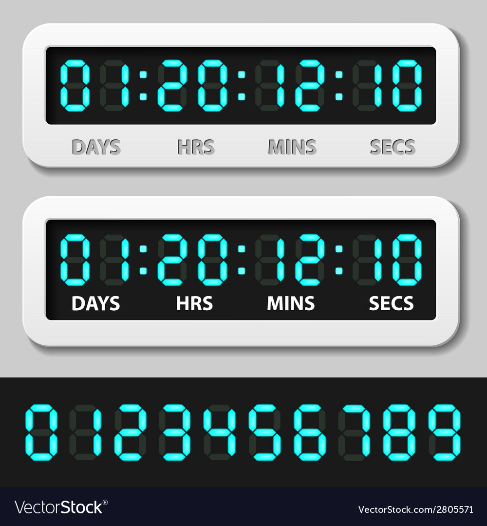 Blue glowing digital numbers - countdown timer vector | Price: 1 Credit (USD $1)