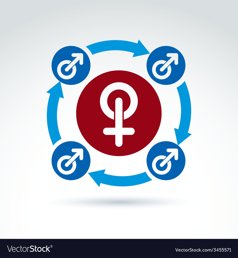 Blue male and red female signs connected with vector | Price: 1 Credit (USD $1)