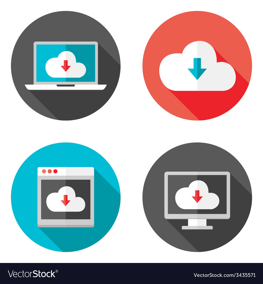 Cloud services flat icons with shadows set vector | Price: 1 Credit (USD $1)