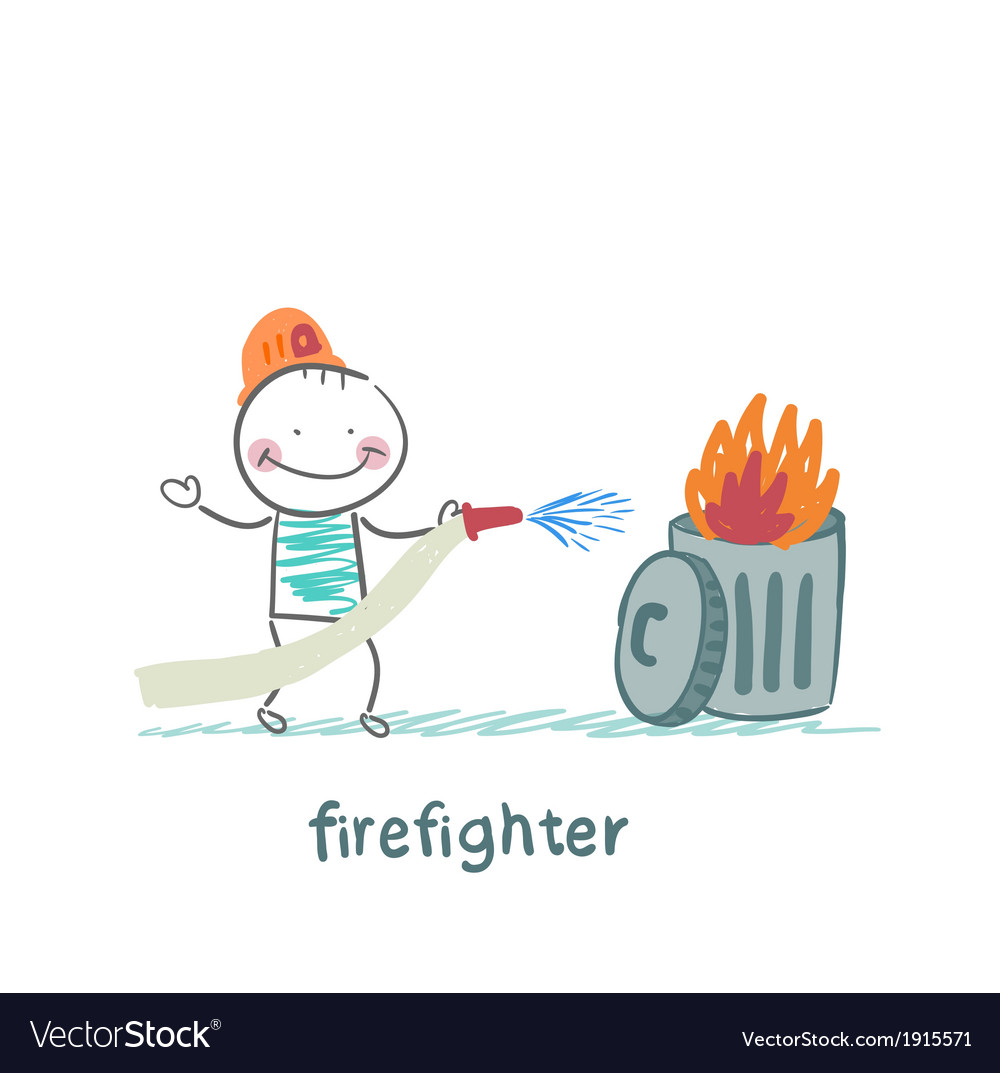 Firefighter puts out the trash vector | Price: 1 Credit (USD $1)