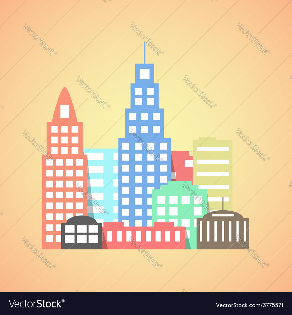 Flat style city on orange background vector | Price: 1 Credit (USD $1)