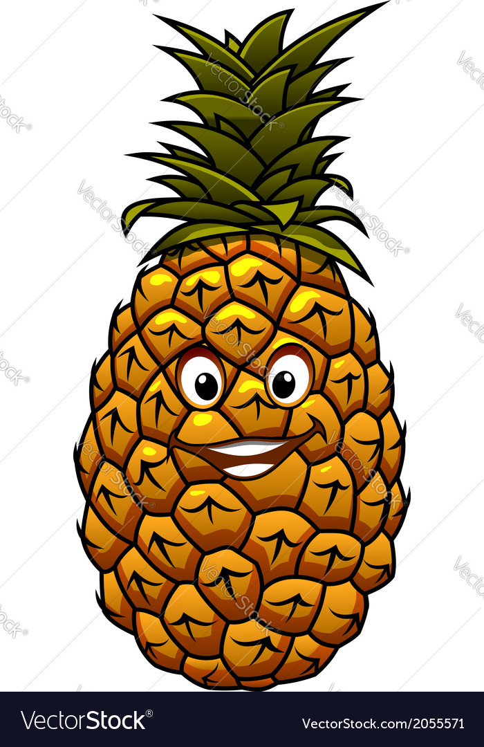 Fun cartoon tropical pineapple fruit vector | Price: 1 Credit (USD $1)
