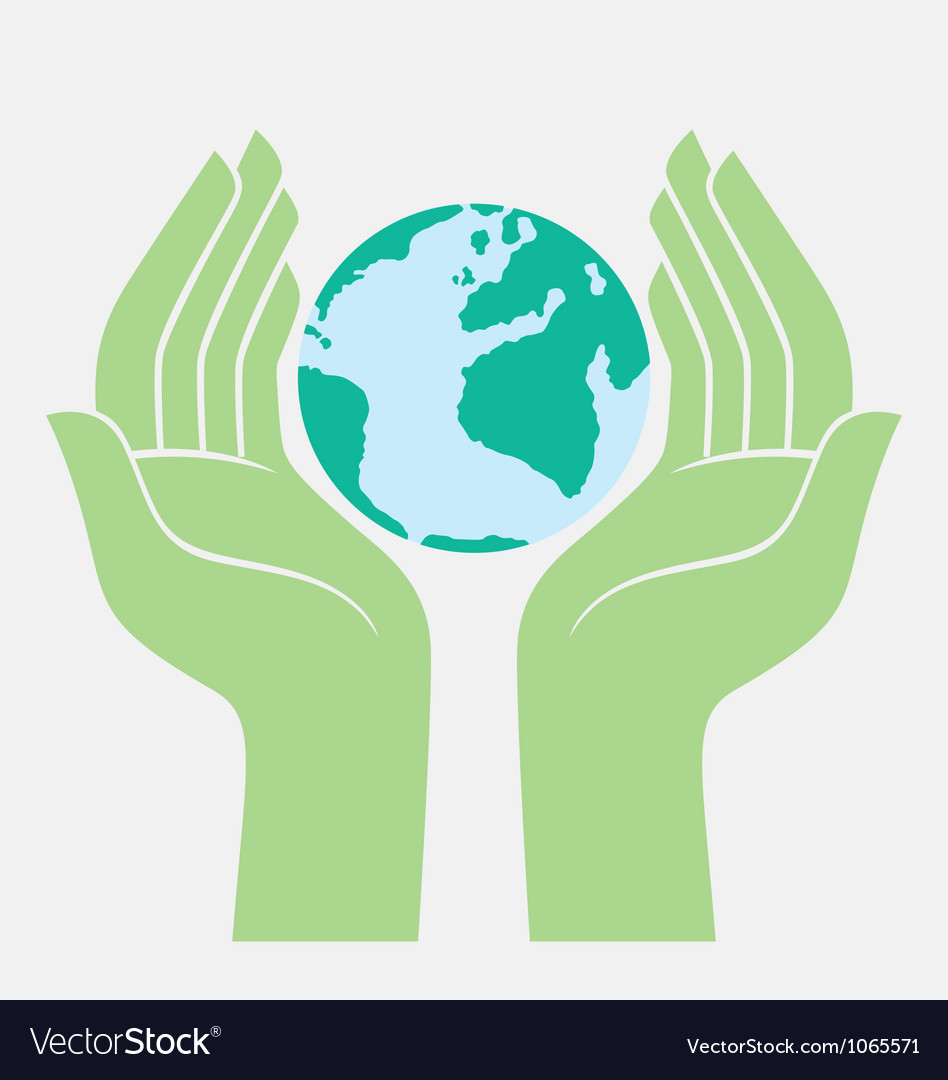 Save the earth protected by hands vector | Price: 1 Credit (USD $1)