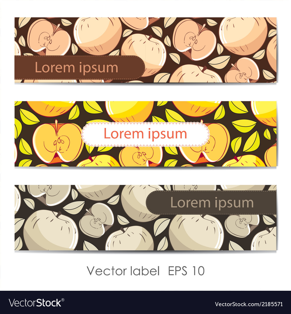 Set of three card with apples vector | Price: 1 Credit (USD $1)