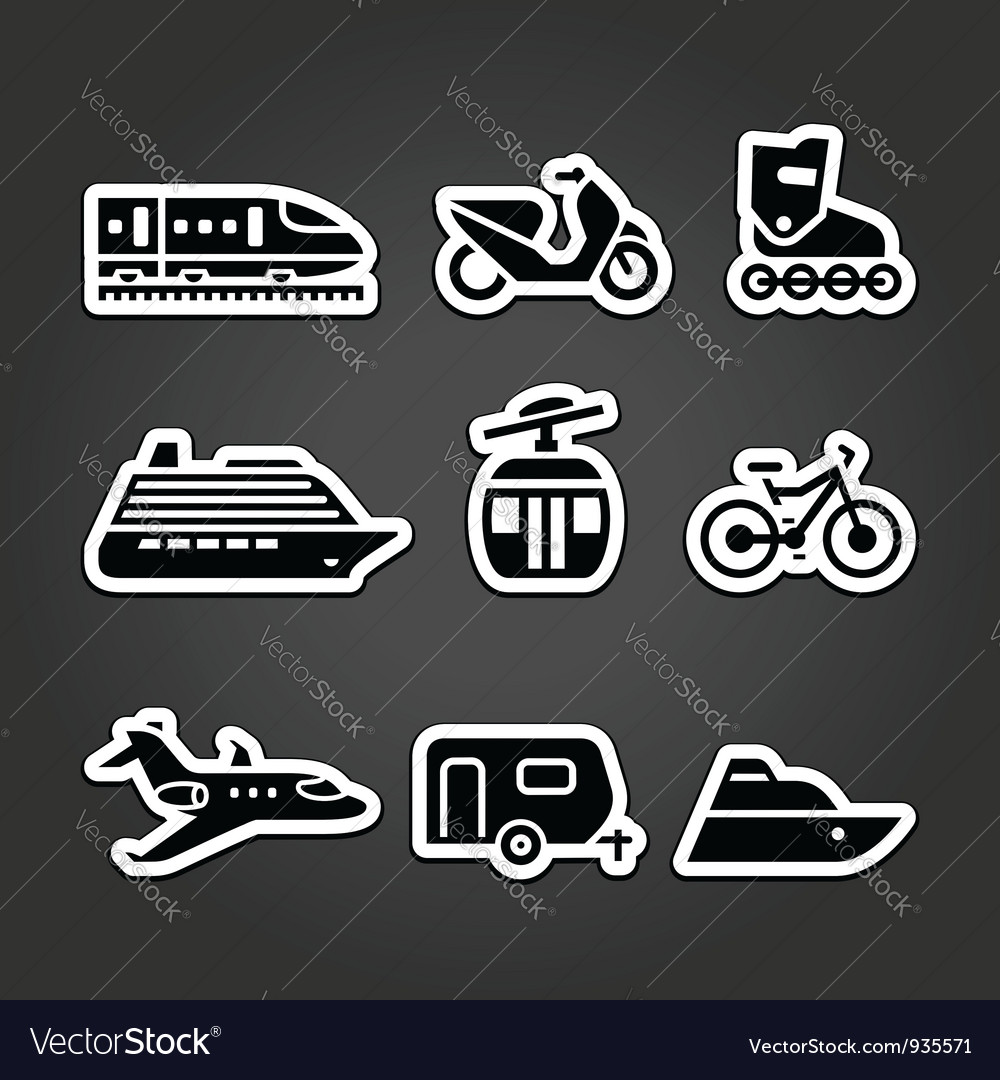 Set simple transportation icons vector   Price: 1 Credit (USD $1)