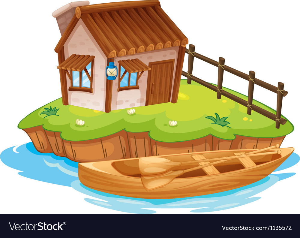 A house on an island vector | Price: 1 Credit (USD $1)