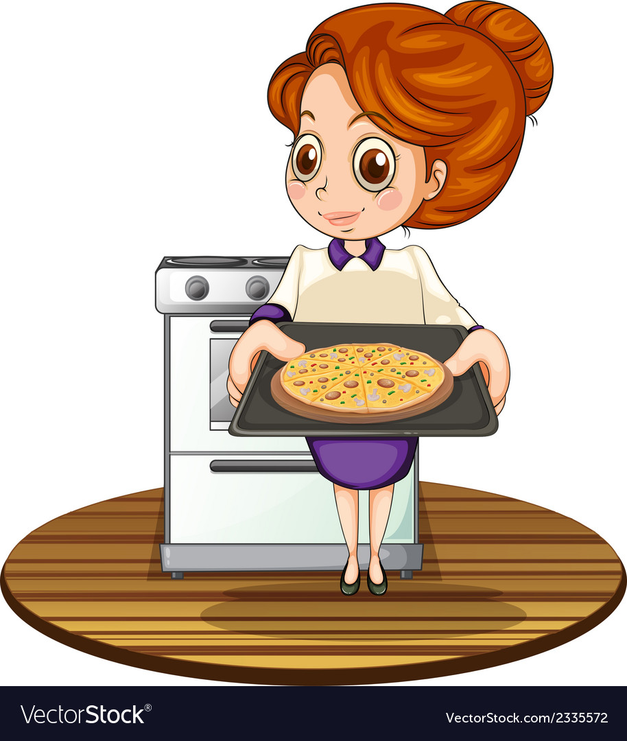 A lady cooking a pizza vector | Price: 3 Credit (USD $3)