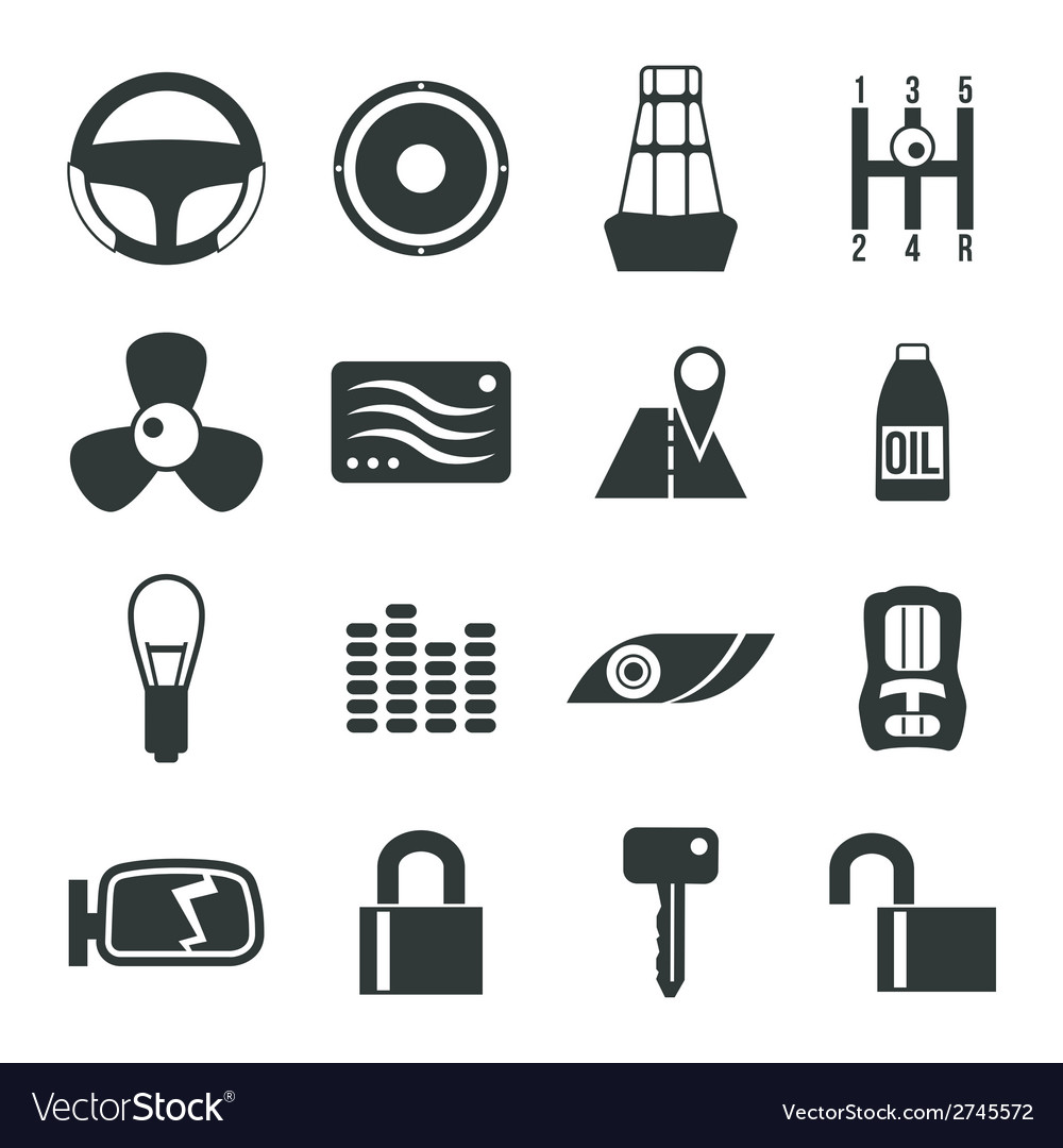 Auto accessories icons set vector | Price: 1 Credit (USD $1)