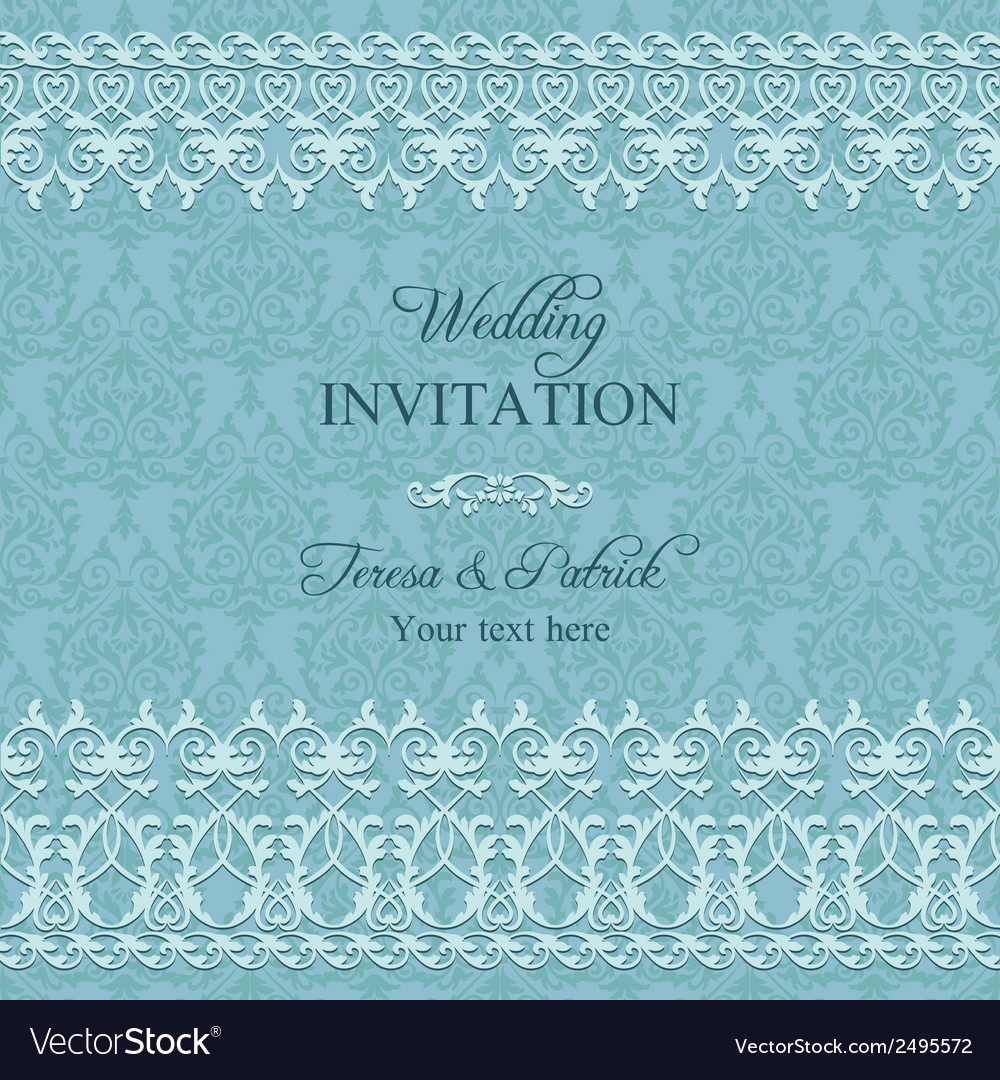 Baroque wedding invitation blue vector | Price: 1 Credit (USD $1)