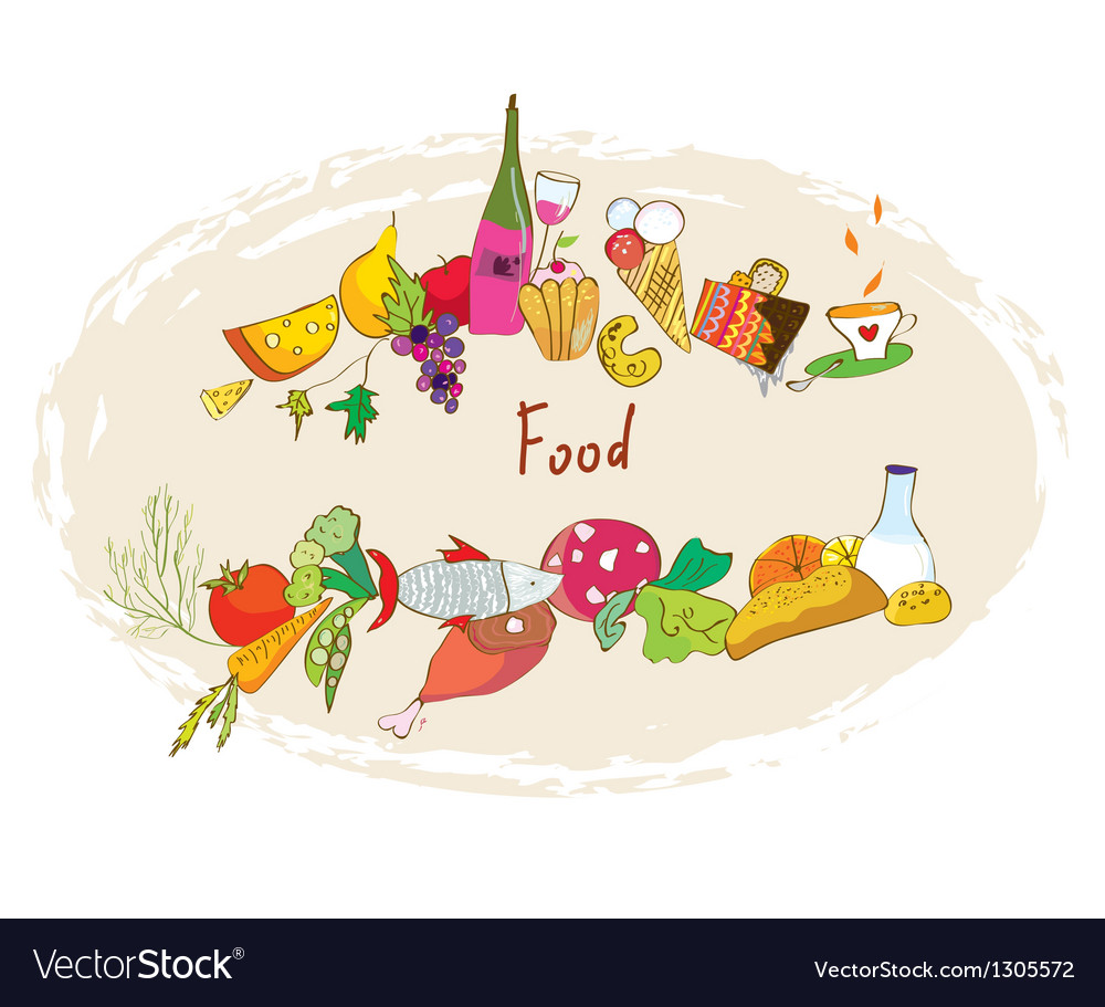 Food banner with meal wine desserts vector | Price: 1 Credit (USD $1)