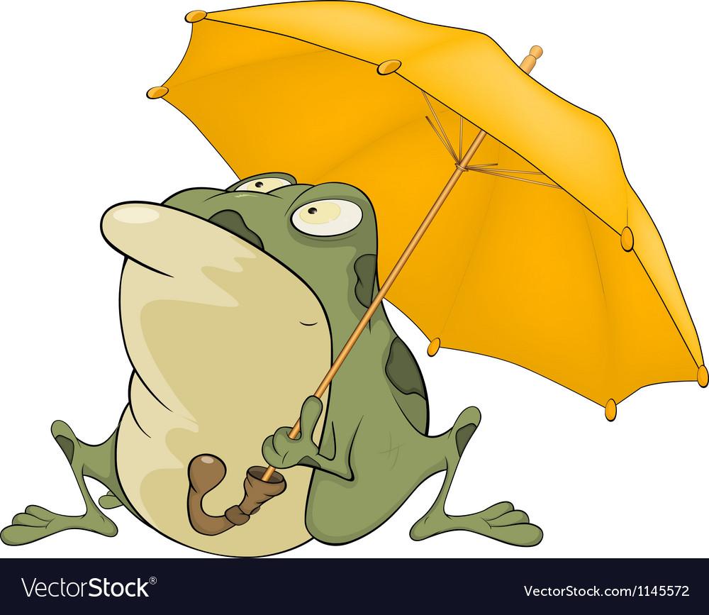 Frog with an umbrella cartoon vector | Price: 1 Credit (USD $1)